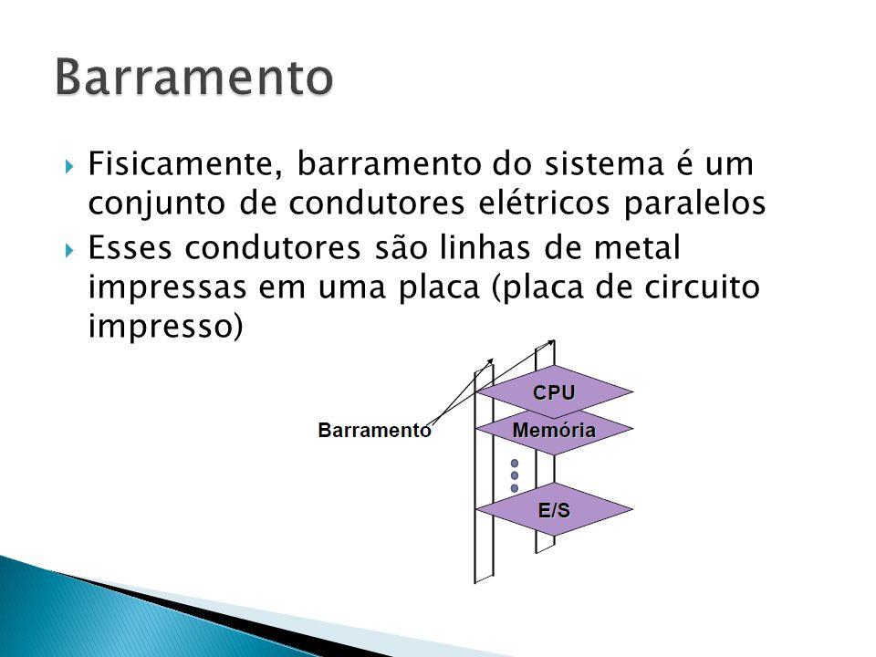  Fisicamente, barramento do sistema é um conjunto de condutores elétricos paralelos  Esses condutores são linhas de metal impressas em uma placa (pl
