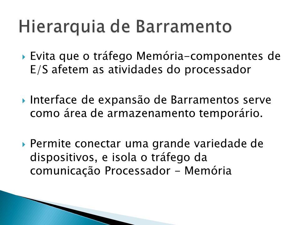  Evita que o tráfego Memória-componentes de E/S afetem as atividades do processador  Interface de expansão de Barramentos serve como área de armazen