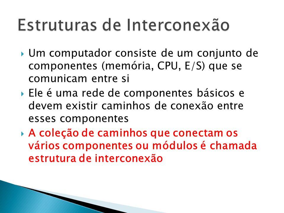  Exemplo de linhas de controle ◦ Escrita na memória ◦ Leitura de memória ◦ Escrita em porta de E/S ◦ Confirmação (ACK) de transferência: Aceitação de dados no barramento.