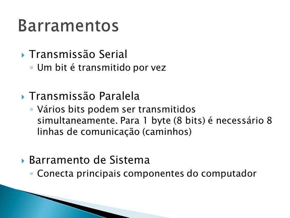  Transmissão Serial ◦ Um bit é transmitido por vez  Transmissão Paralela ◦ Vários bits podem ser transmitidos simultaneamente. Para 1 byte (8 bits)