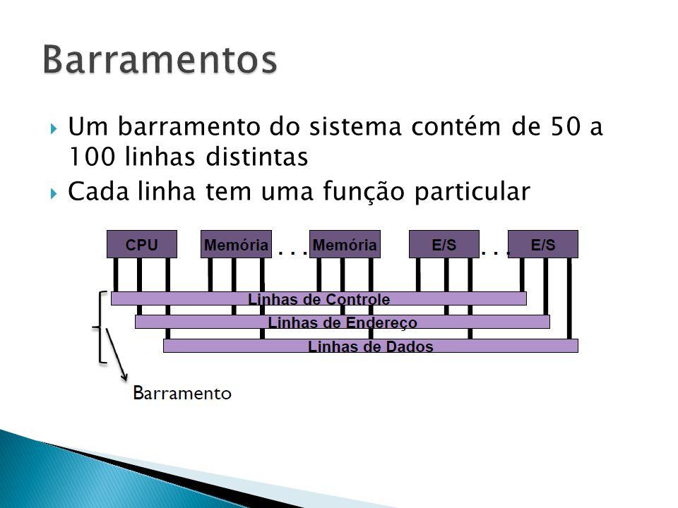  As linhas de dados fornecem o caminho para transferência de dados entre os módulos  A largura (quantidade de linhas) determina a quantidade de dados transmitidos por vez  Parâmetro fundamental para o desempenho global do sistema CPUMemória E/S Linhas de Endereço...