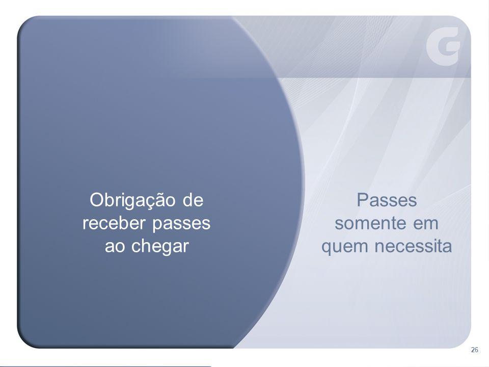 26 Passes somente em quem necessita Obrigação de receber passes ao chegar