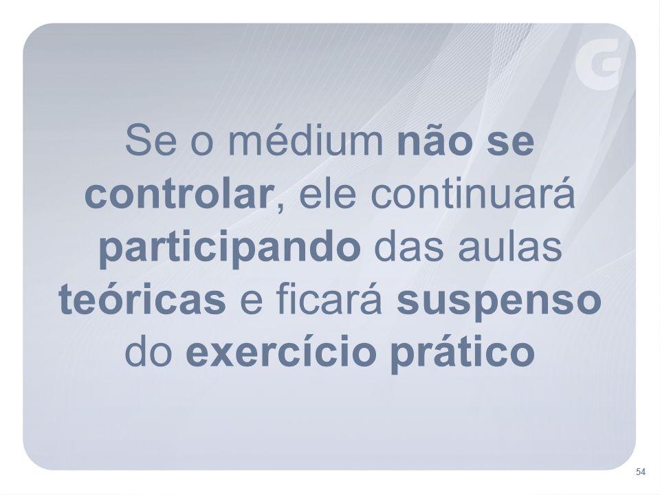 54 Se o médium não se controlar, ele continuará participando das aulas teóricas e ficará suspenso do exercício prático