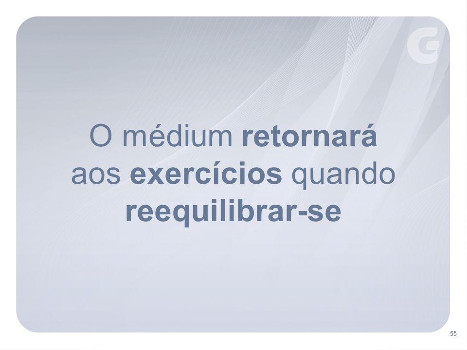 O médium retornará aos exercícios quando reequilibrar-se 55