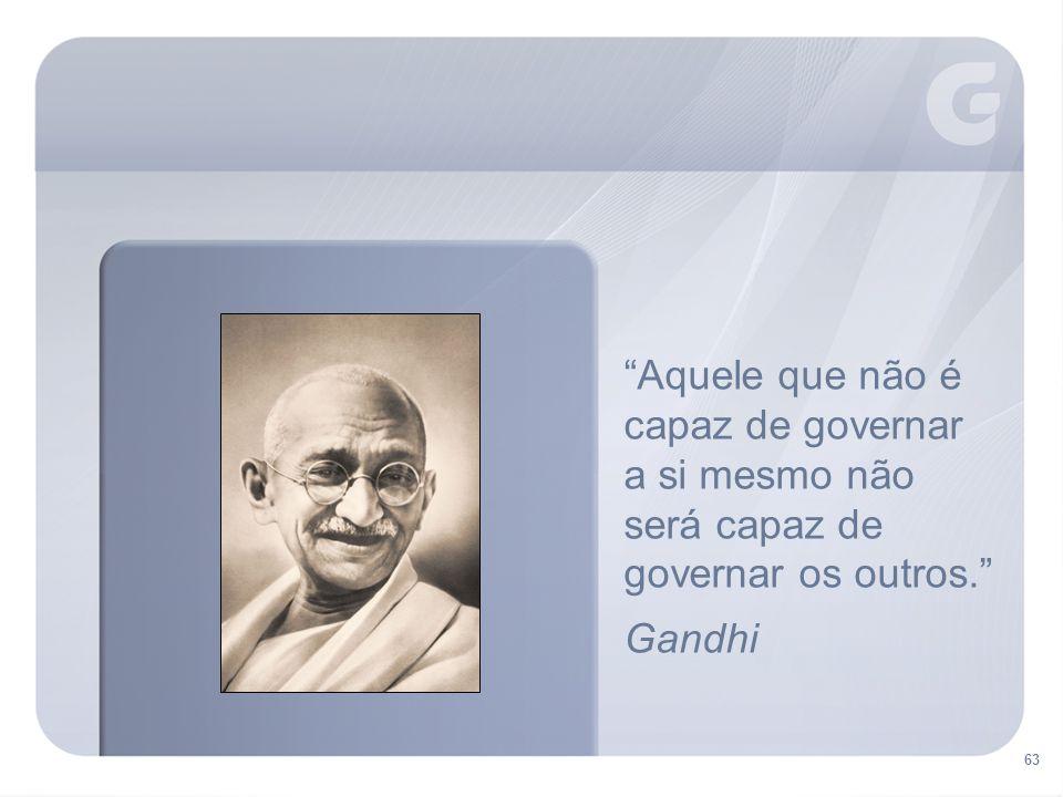 Aquele que não é capaz de governar a si mesmo não será capaz de governar os outros. Gandhi 63