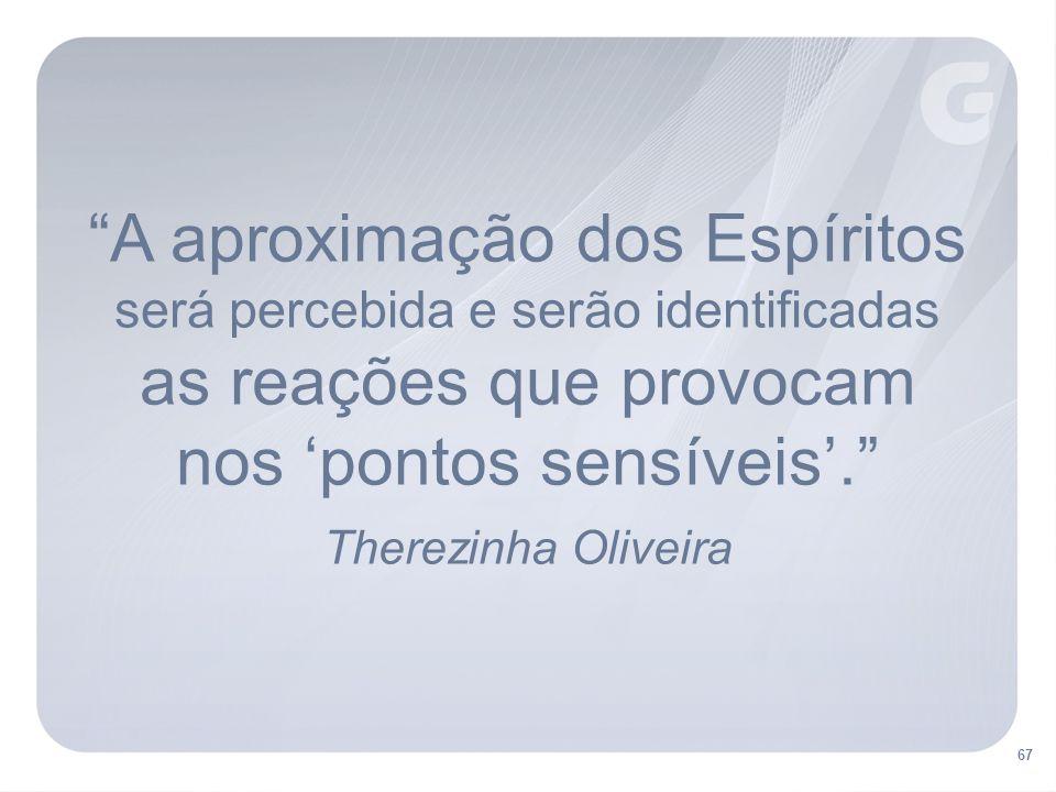 A aproximação dos Espíritos será percebida e serão identificadas as reações que provocam nos 'pontos sensíveis'. Therezinha Oliveira 67