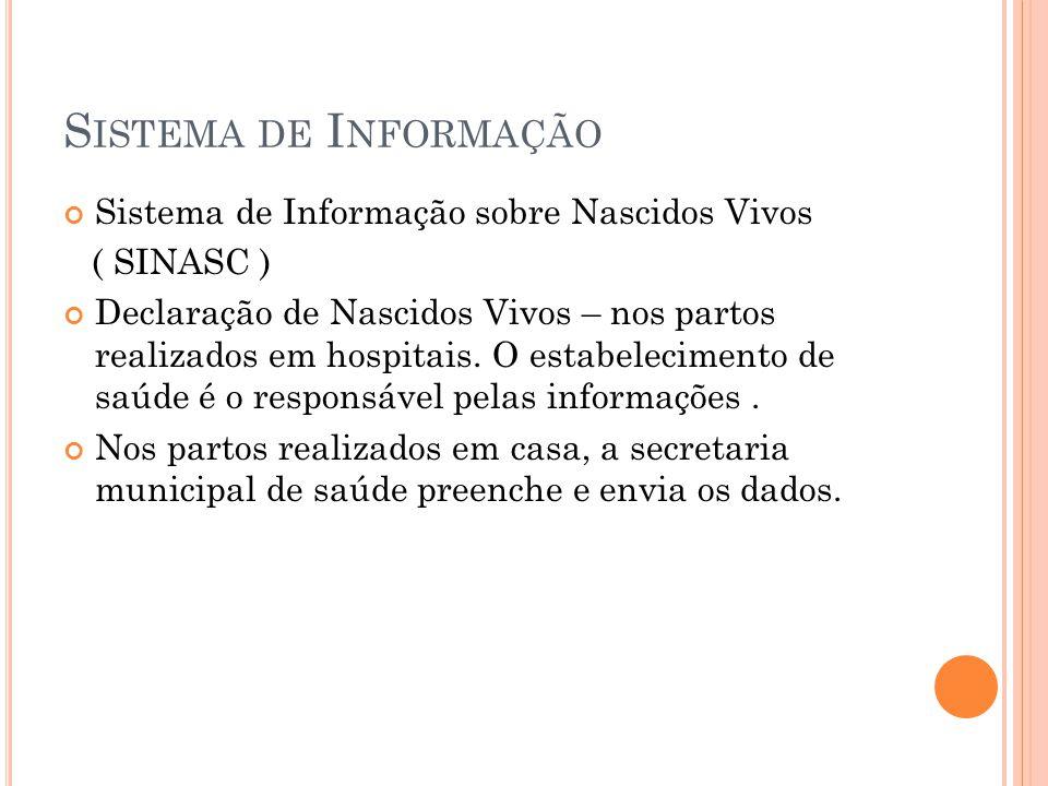 S ISTEMA DE I NFORMAÇÃO Sistema de Informação sobre Nascidos Vivos ( SINASC ) Declaração de Nascidos Vivos – nos partos realizados em hospitais. O est