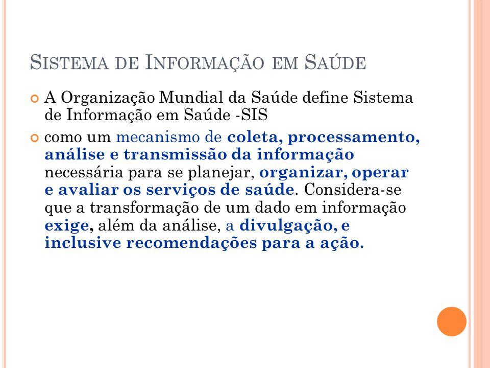 R EDE N ACIONAL DE I NFORMAÇÕES DE S AÚDE (RNIS) Objetivo: integrar e disseminar as informações de saúde no país.