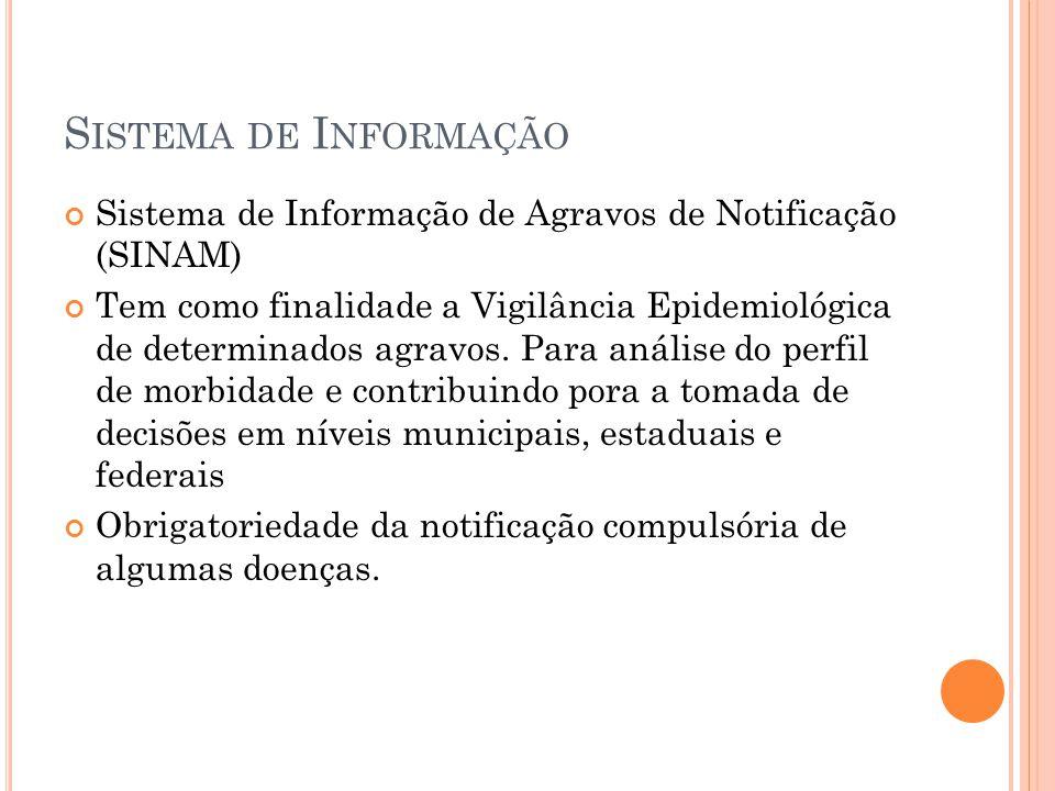 S ISTEMA DE I NFORMAÇÃO Sistema de Informação de Agravos de Notificação (SINAM) Tem como finalidade a Vigilância Epidemiológica de determinados agravo