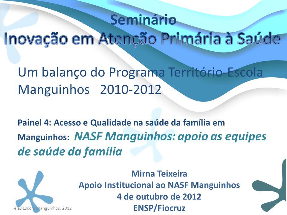 Um balanço do Programa Território-Escola Manguinhos 2010-2012 Painel 4: Acesso e Qualidade na saúde da família em Manguinhos: NASF Manguinhos: apoio a