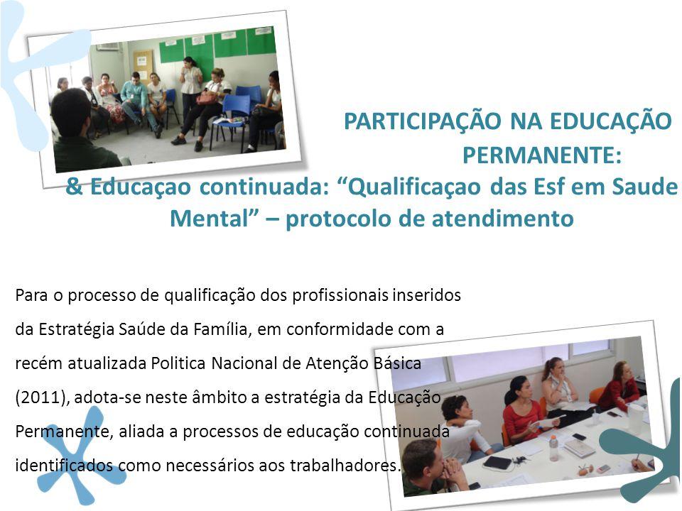 """PARTICIPAÇÃO NA EDUCAÇÃO PERMANENTE: & Educaçao continuada: """"Qualificaçao das Esf em Saude Mental"""" – protocolo de atendimento Para o processo de quali"""