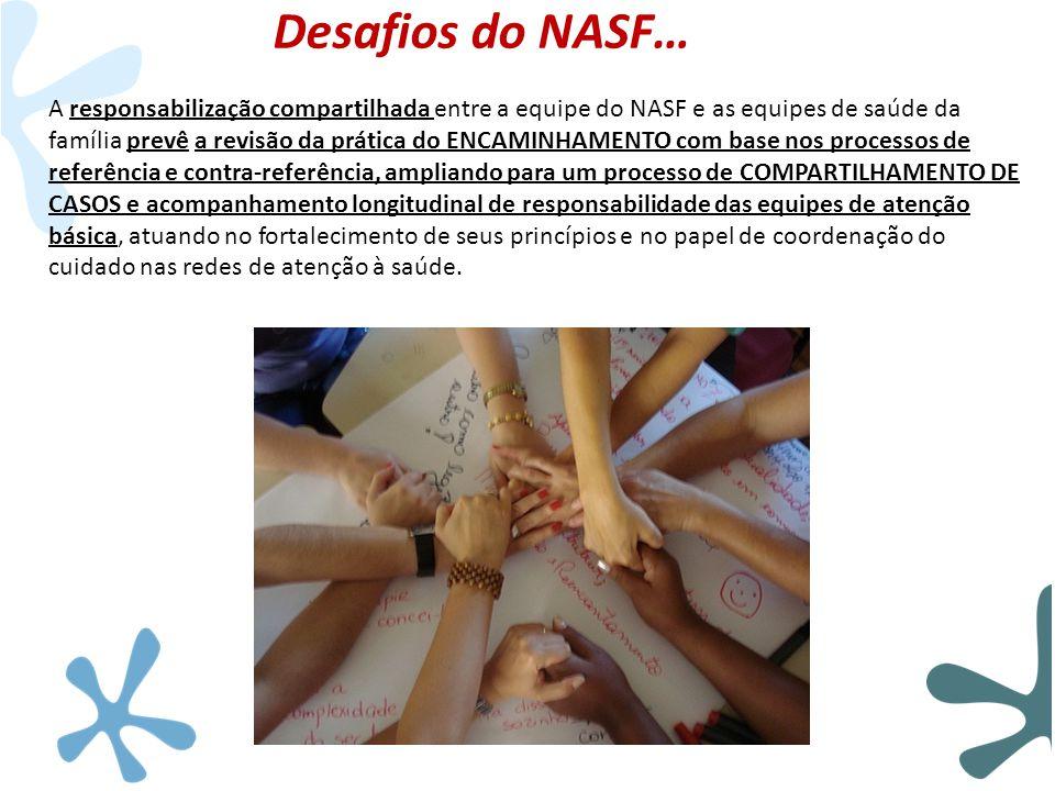 Desafios do NASF… A responsabilização compartilhada entre a equipe do NASF e as equipes de saúde da família prevê a revisão da prática do ENCAMINHAMEN