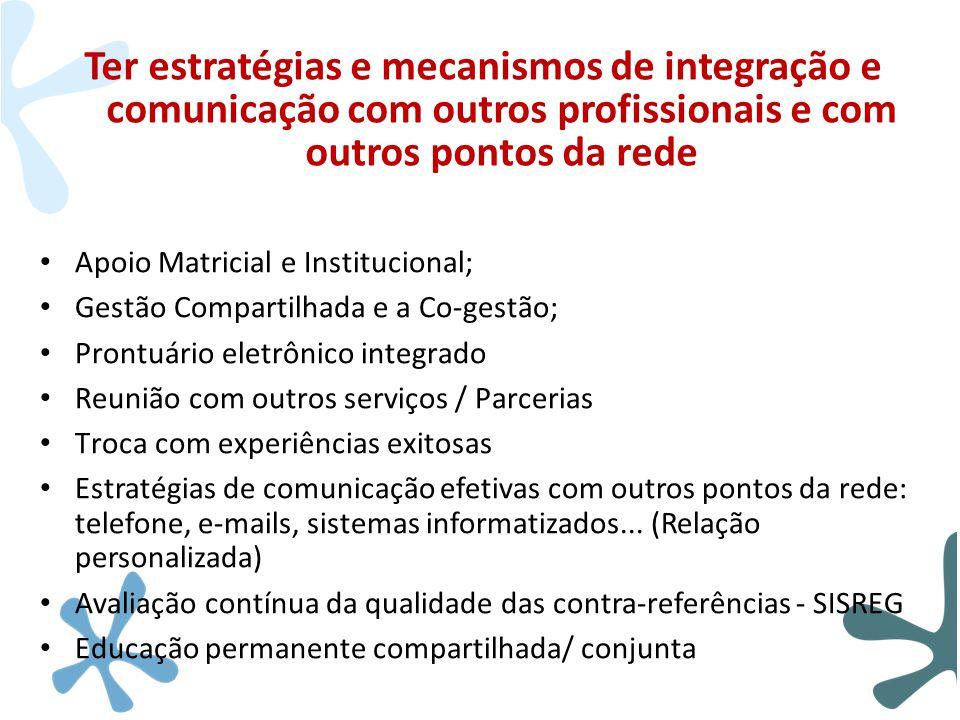 Ter estratégias e mecanismos de integração e comunicação com outros profissionais e com outros pontos da rede • Apoio Matricial e Institucional; • Ges