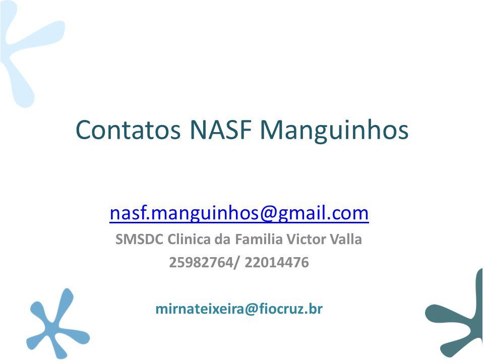 Contatos NASF Manguinhos nasf.manguinhos@gmail.com SMSDC Clinica da Familia Victor Valla 25982764/ 22014476 mirnateixeira@fiocruz.br