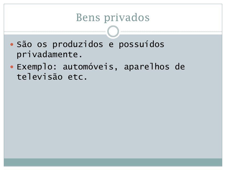 Bens privados  São os produzidos e possuídos privadamente.  Exemplo: automóveis, aparelhos de televisão etc.