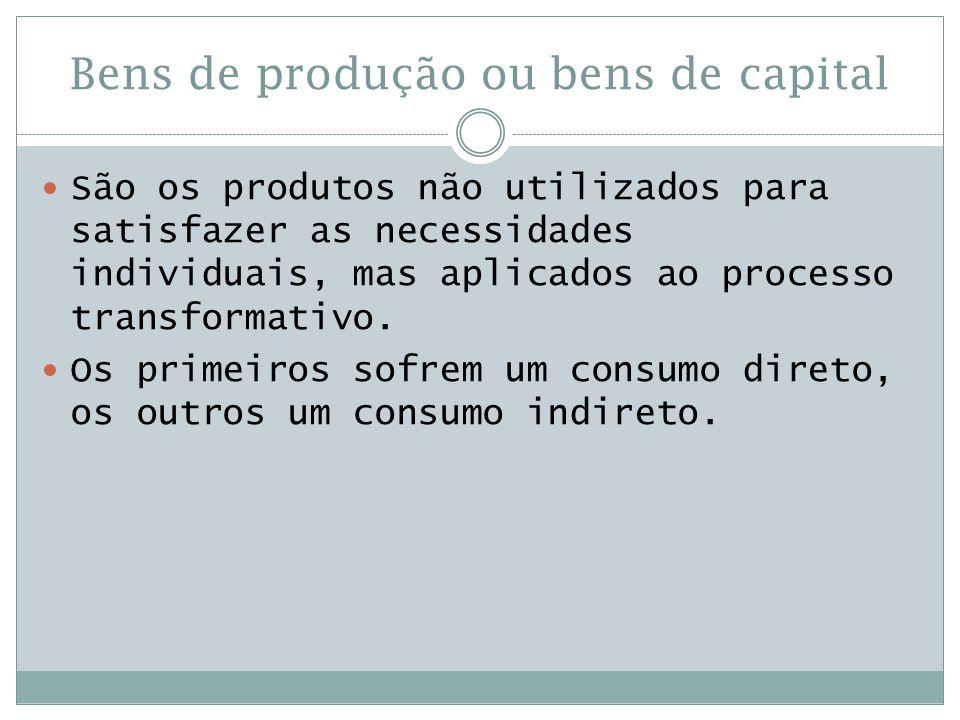 Bens de produção ou bens de capital  São os produtos não utilizados para satisfazer as necessidades individuais, mas aplicados ao processo transforma