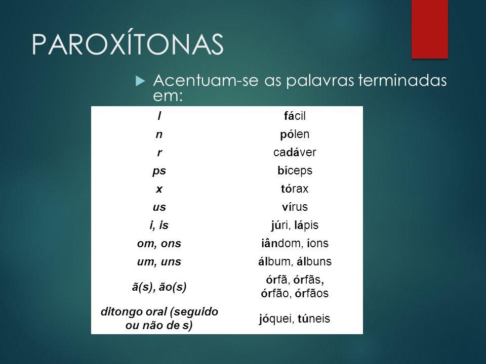 PAROXÍTONAS  Acentuam-se as palavras terminadas em: lfácil npólen rcadáver psbíceps xtórax usvírus i, isjúri, lápis om, onsiândom, íons um, unsálbum,