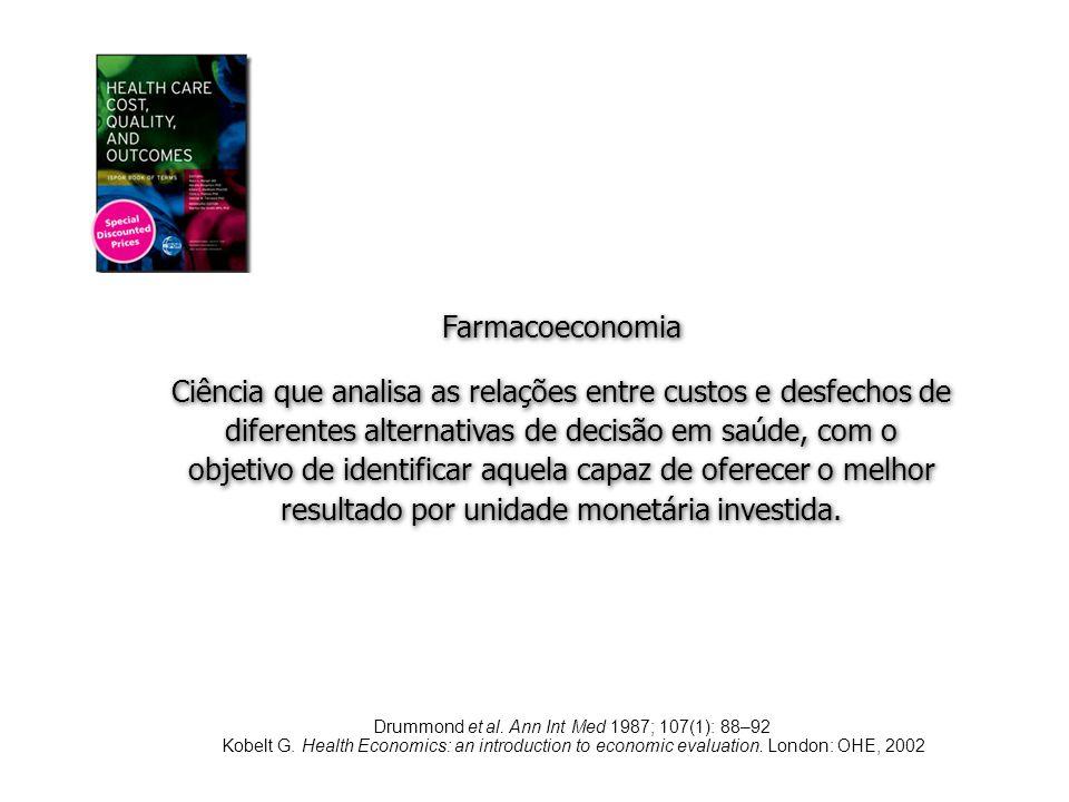 Farmacoeconomia Ciência que analisa as relações entre custos e desfechos de diferentes alternativas de decisão em saúde, com o objetivo de identificar
