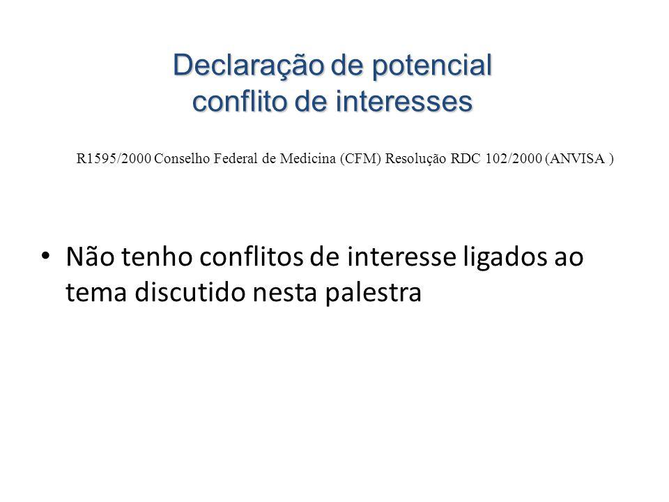 Declaração de potencial conflito de interesses R1595/2000 Conselho Federal de Medicina (CFM) Resolução RDC 102/2000 (ANVISA ) • Não tenho conflitos de