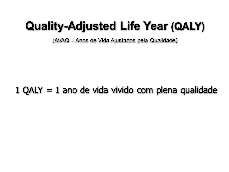 Quality-Adjusted Life Year (QALY) (AVAQ – Anos de Vida Ajustados pela Qualidade ) Quality-Adjusted Life Year (QALY) (AVAQ – Anos de Vida Ajustados pel