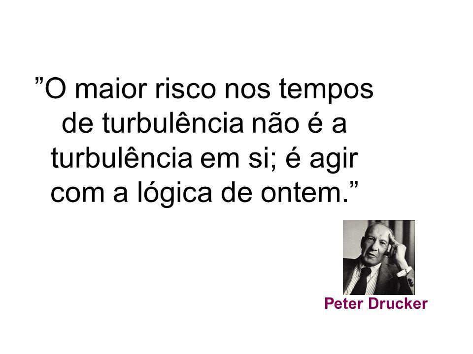 """""""O maior risco nos tempos de turbulência não é a turbulência em si; é agir com a lógica de ontem."""" Peter Drucker"""
