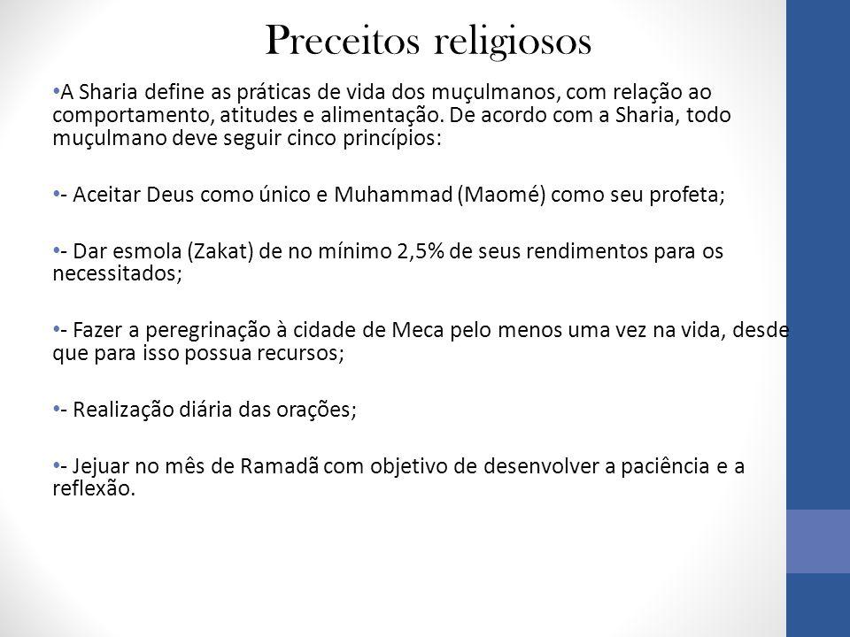 Preceitos religiosos • A Sharia define as práticas de vida dos muçulmanos, com relação ao comportamento, atitudes e alimentação.