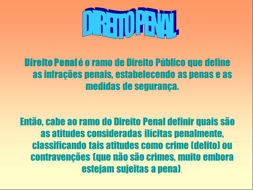 Direito Penal é o ramo de Direito Público que define as infrações penais, estabelecendo as penas e as medidas de segurança. Então, cabe ao ramo do Dir