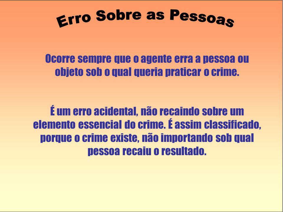 Ocorre sempre que o agente erra a pessoa ou objeto sob o qual queria praticar o crime. É um erro acidental, não recaindo sobre um elemento essencial d
