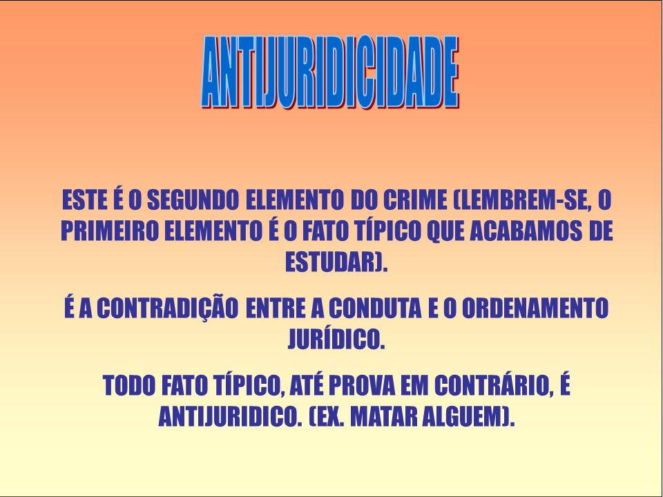 ESTE É O SEGUNDO ELEMENTO DO CRIME (LEMBREM-SE, O PRIMEIRO ELEMENTO É O FATO TÍPICO QUE ACABAMOS DE ESTUDAR).