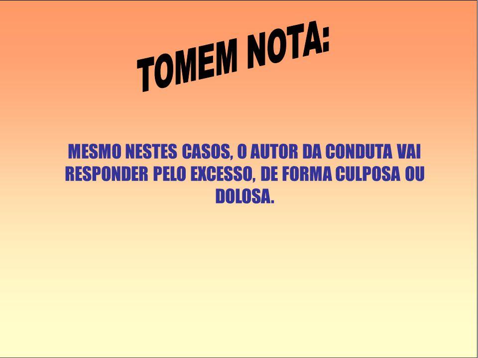 MESMO NESTES CASOS, O AUTOR DA CONDUTA VAI RESPONDER PELO EXCESSO, DE FORMA CULPOSA OU DOLOSA.