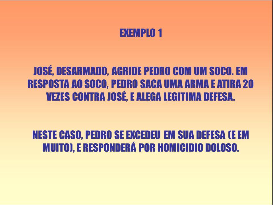 EXEMPLO 1 JOSÉ, DESARMADO, AGRIDE PEDRO COM UM SOCO.