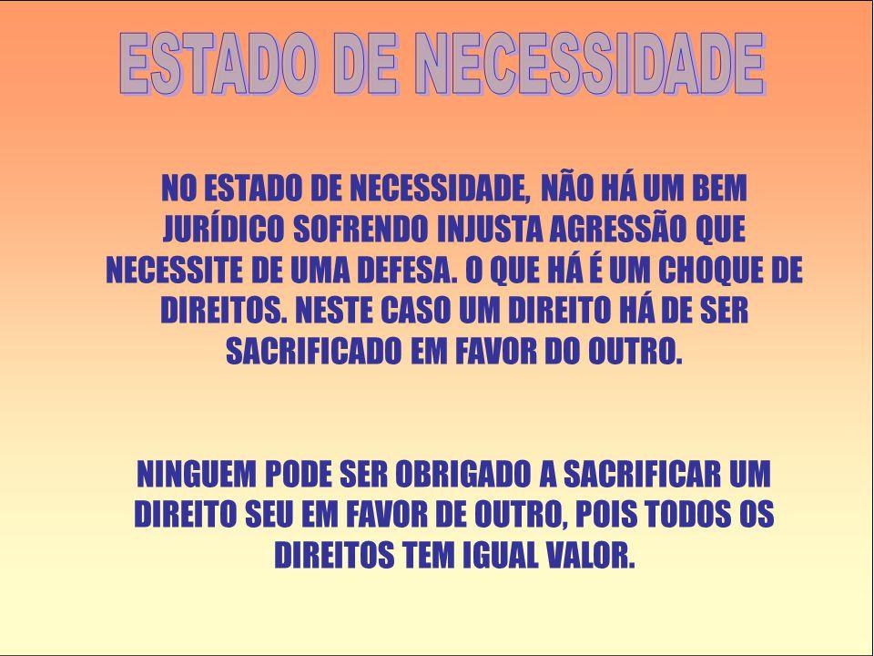 NO ESTADO DE NECESSIDADE, NÃO HÁ UM BEM JURÍDICO SOFRENDO INJUSTA AGRESSÃO QUE NECESSITE DE UMA DEFESA.