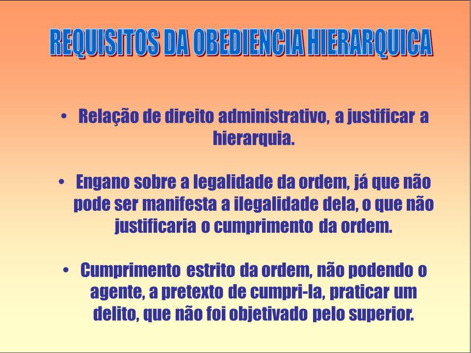 •Relação de direito administrativo, a justificar a hierarquia. •Engano sobre a legalidade da ordem, já que não pode ser manifesta a ilegalidade dela,