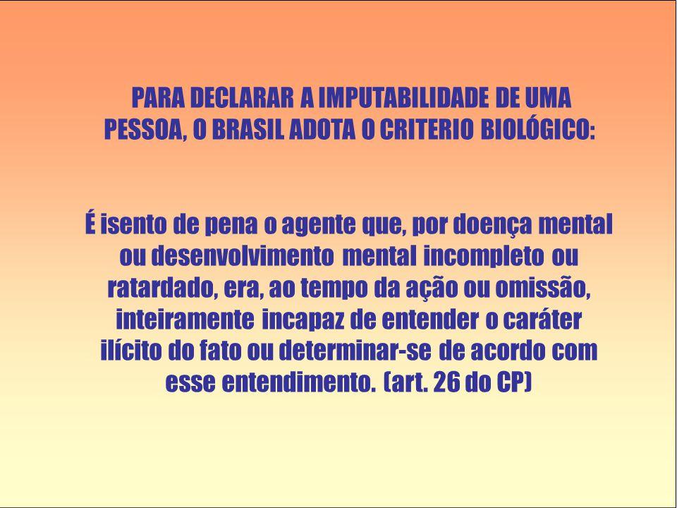 PARA DECLARAR A IMPUTABILIDADE DE UMA PESSOA, O BRASIL ADOTA O CRITERIO BIOLÓGICO: É isento de pena o agente que, por doença mental ou desenvolvimento