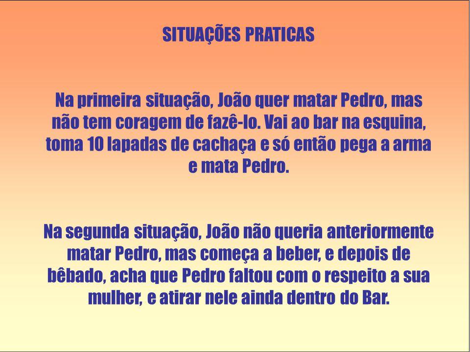 SITUAÇÕES PRATICAS Na primeira situação, João quer matar Pedro, mas não tem coragem de fazê-lo.