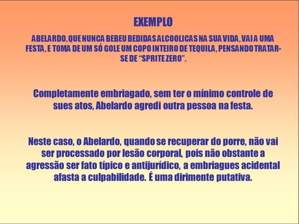 EXEMPLO ABELARDO, QUE NUNCA BEBEU BEDIDAS ALCOOLICAS NA SUA VIDA, VAI A UMA FESTA, E TOMA DE UM SÓ GOLE UM COPO INTEIRO DE TEQUILA, PENSANDO TRATAR- S