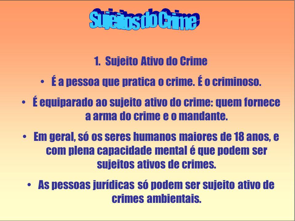 1.Sujeito Ativo do Crime •É a pessoa que pratica o crime. É o criminoso. •É equiparado ao sujeito ativo do crime: quem fornece a arma do crime e o man