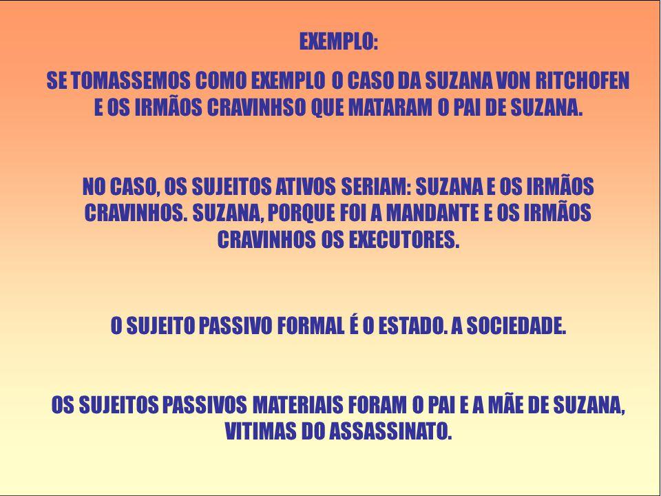 EXEMPLO: SE TOMASSEMOS COMO EXEMPLO O CASO DA SUZANA VON RITCHOFEN E OS IRMÃOS CRAVINHSO QUE MATARAM O PAI DE SUZANA.