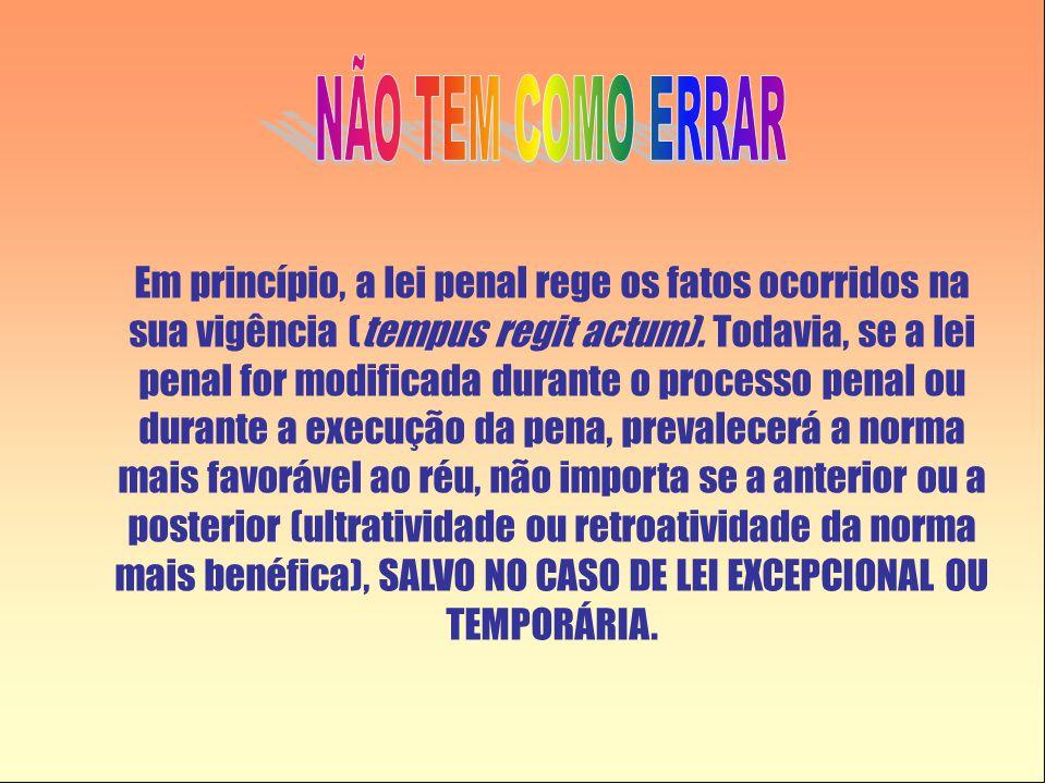 Em princípio, a lei penal rege os fatos ocorridos na sua vigência (tempus regit actum). Todavia, se a lei penal for modificada durante o processo pena