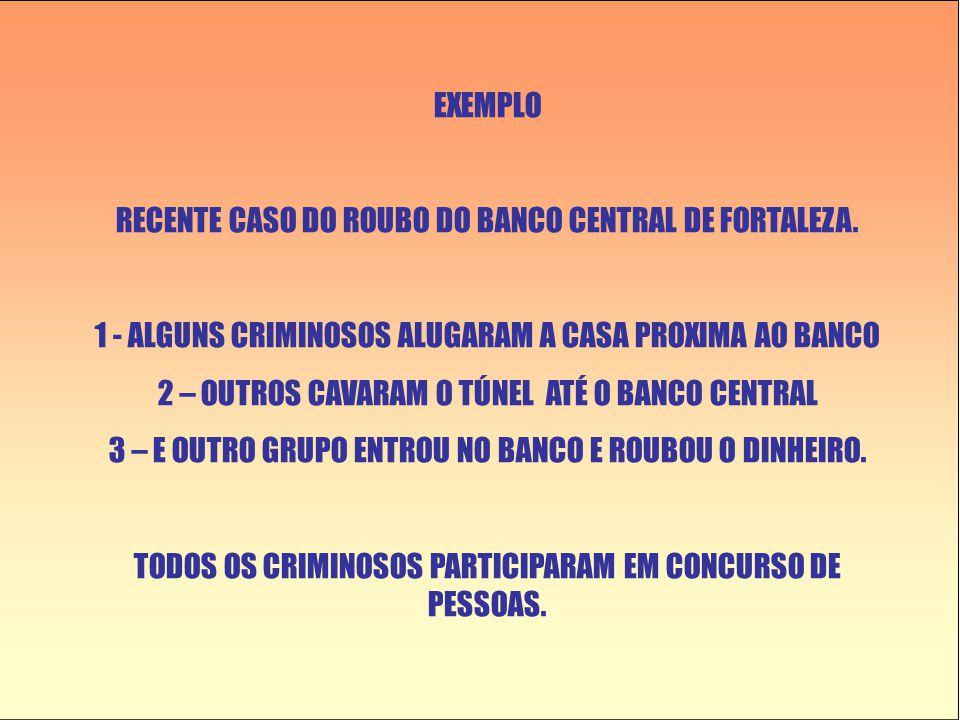 EXEMPLO RECENTE CASO DO ROUBO DO BANCO CENTRAL DE FORTALEZA. 1 - ALGUNS CRIMINOSOS ALUGARAM A CASA PROXIMA AO BANCO 2 – OUTROS CAVARAM O TÚNEL ATÉ O B