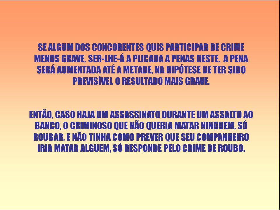 SE ALGUM DOS CONCORENTES QUIS PARTICIPAR DE CRIME MENOS GRAVE, SER-LHE-Á A PLICADA A PENAS DESTE.