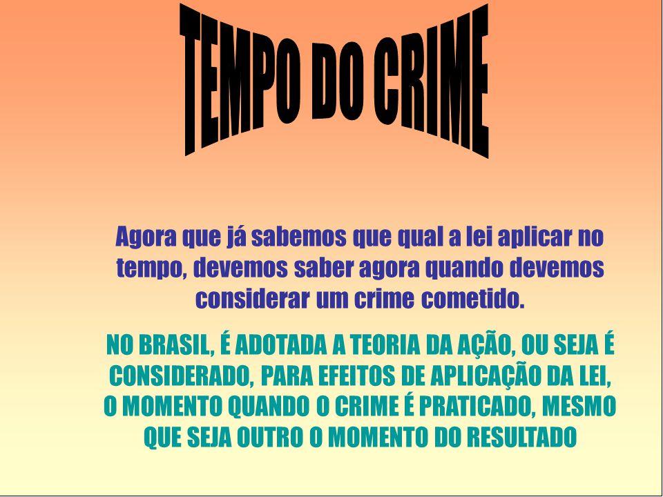 Agora que já sabemos que qual a lei aplicar no tempo, devemos saber agora quando devemos considerar um crime cometido. NO BRASIL, É ADOTADA A TEORIA D