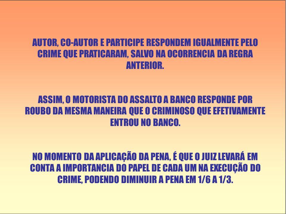 AUTOR, CO-AUTOR E PARTICIPE RESPONDEM IGUALMENTE PELO CRIME QUE PRATICARAM, SALVO NA OCORRENCIA DA REGRA ANTERIOR.
