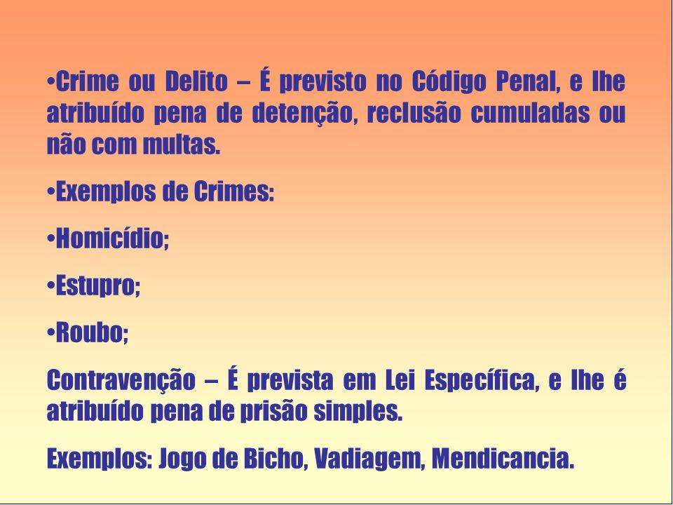 •Crime ou Delito – É previsto no Código Penal, e lhe atribuído pena de detenção, reclusão cumuladas ou não com multas. •Exemplos de Crimes: •Homicídio