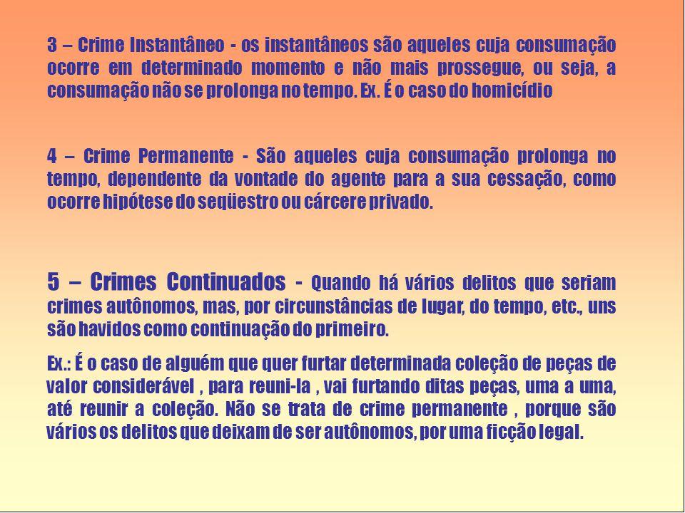 3 – Crime Instantâneo - os instantâneos são aqueles cuja consumação ocorre em determinado momento e não mais prossegue, ou seja, a consumação não se prolonga no tempo.