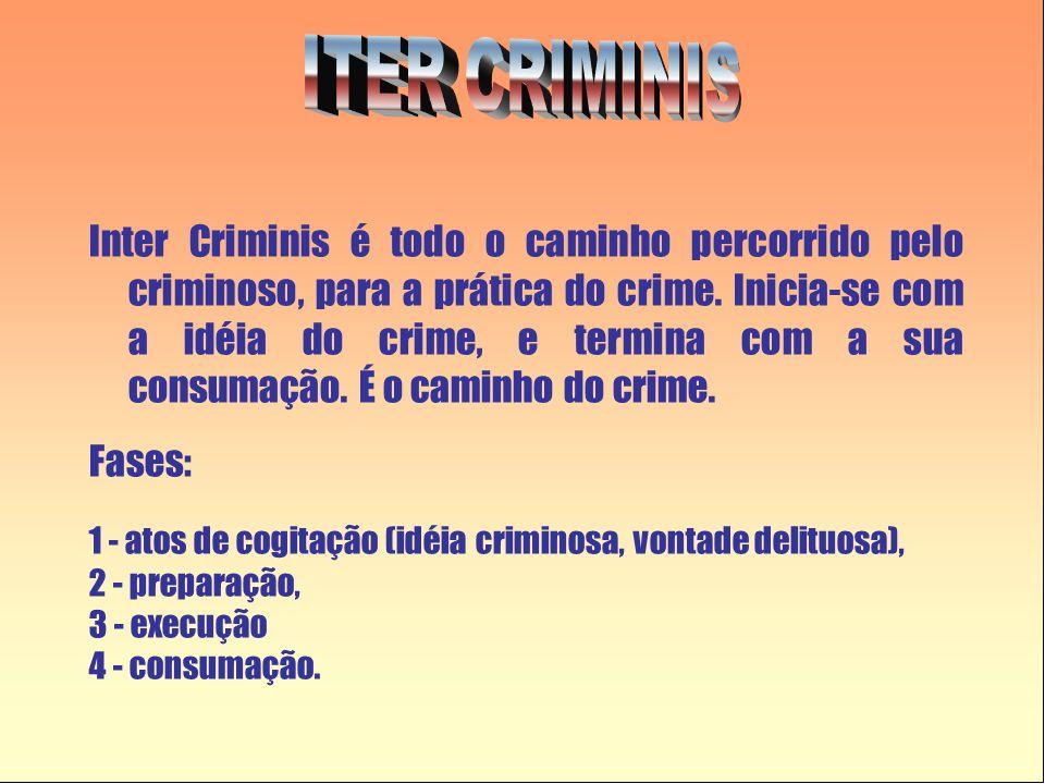 Inter Criminis é todo o caminho percorrido pelo criminoso, para a prática do crime. Inicia-se com a idéia do crime, e termina com a sua consumação. É