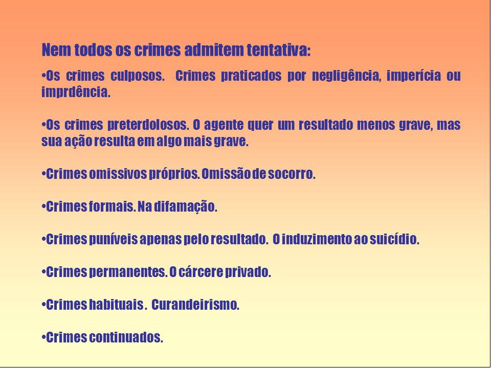 Nem todos os crimes admitem tentativa: •Os crimes culposos.