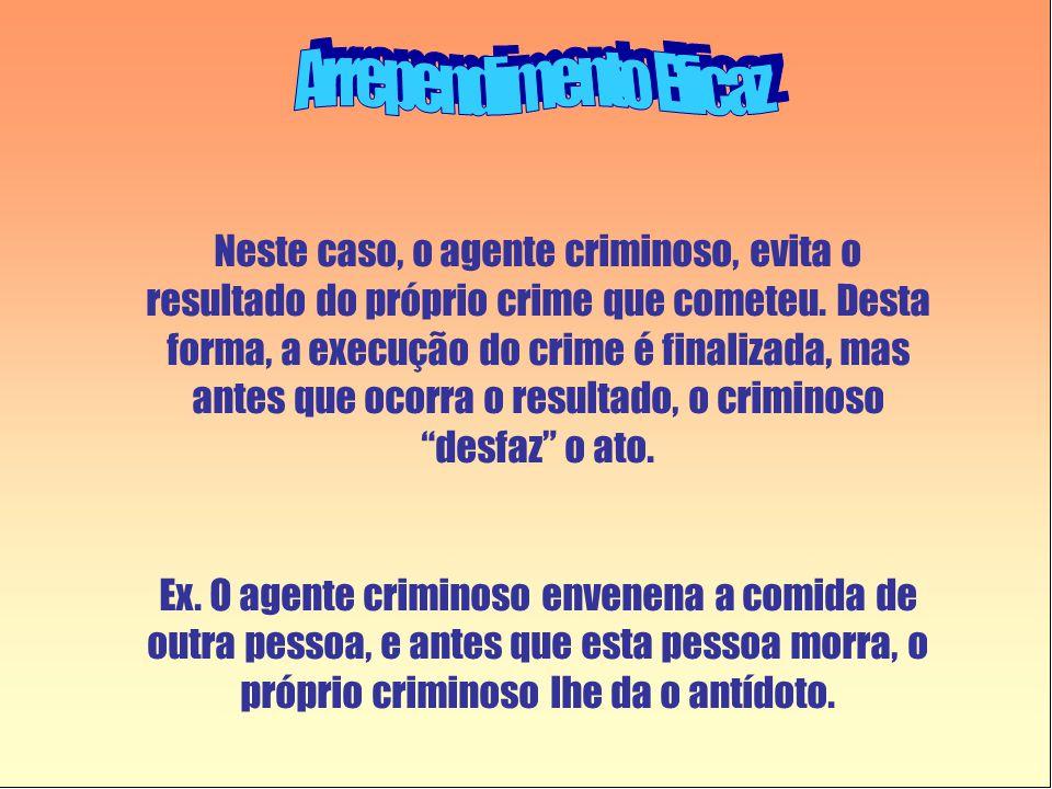 Neste caso, o agente criminoso, evita o resultado do próprio crime que cometeu. Desta forma, a execução do crime é finalizada, mas antes que ocorra o