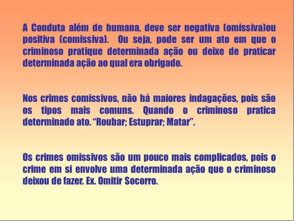 A Conduta além de humana, deve ser negativa (omissiva)ou positiva (comissiva). Ou seja, pode ser um ato em que o criminoso pratique determinada ação o