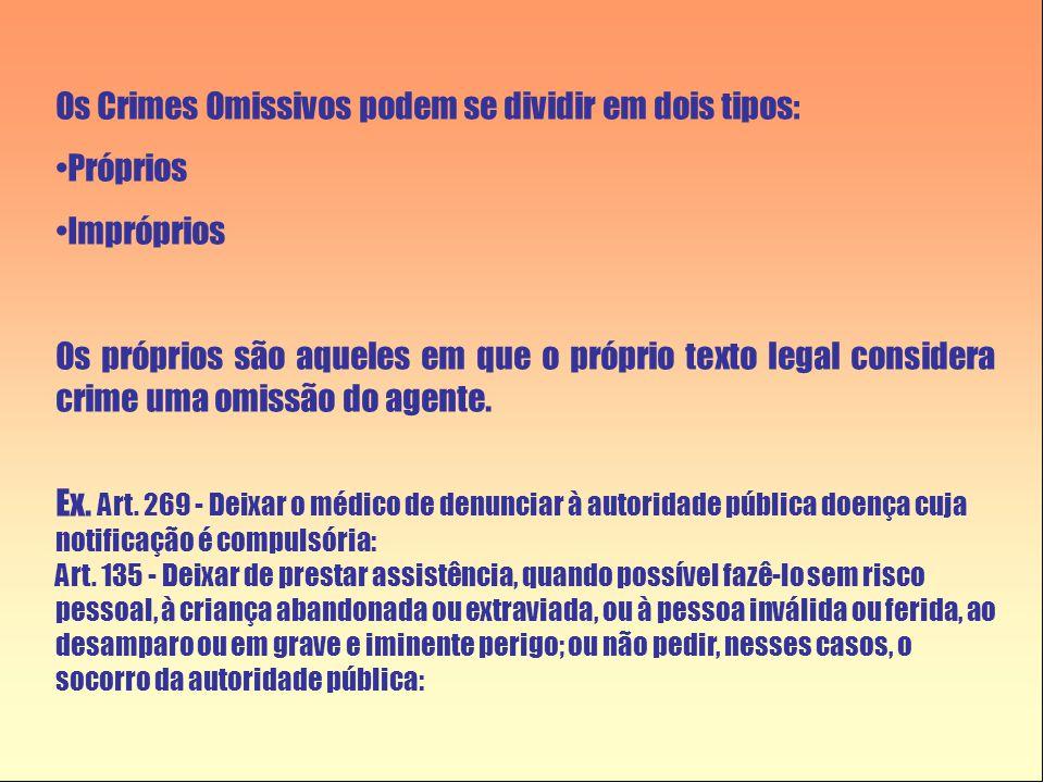 Os Crimes Omissivos podem se dividir em dois tipos: •Próprios •Impróprios Os próprios são aqueles em que o próprio texto legal considera crime uma omissão do agente.